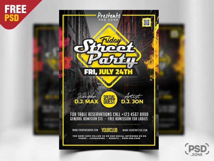 Street Party Invitation Flyer Template