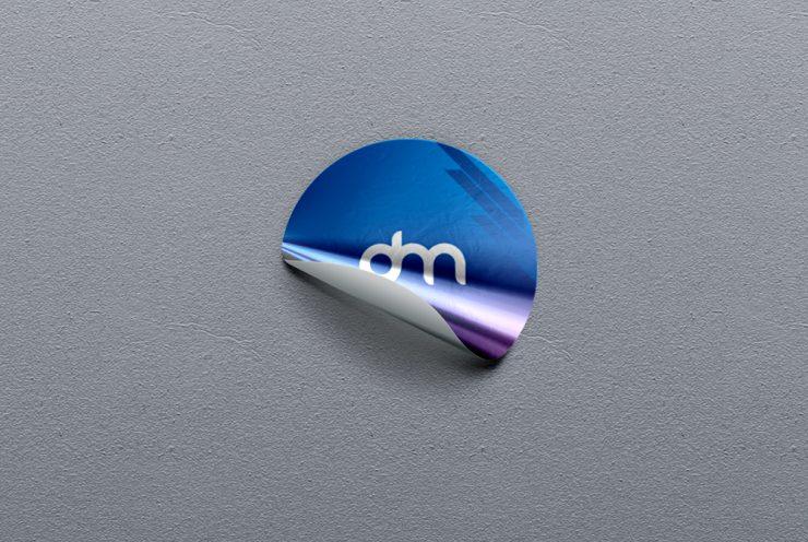 Circular Foil Sticker Mockup