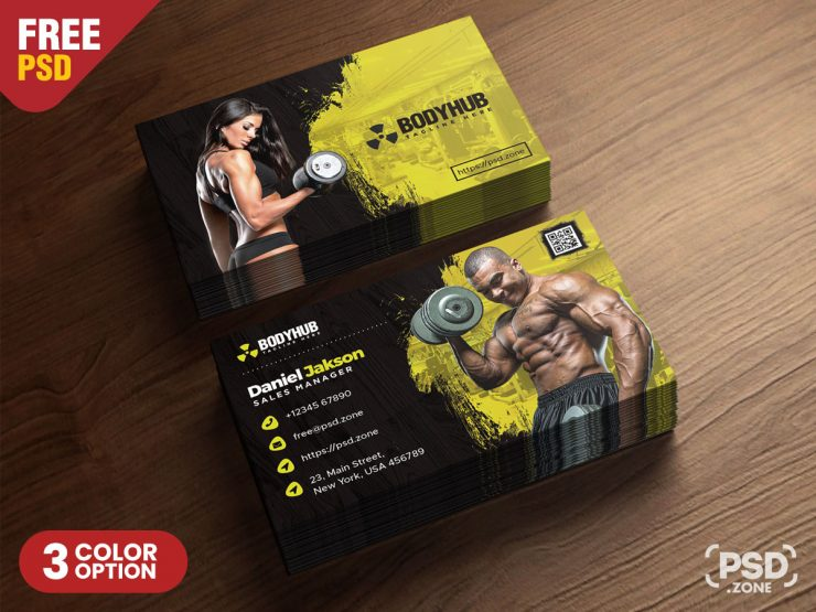 Gym Fitness Trainer Business Card Design Template