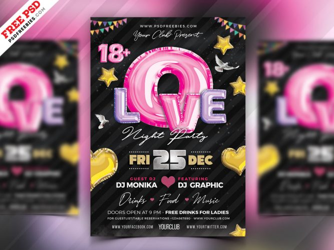 Love Night Club Party Flyer Template