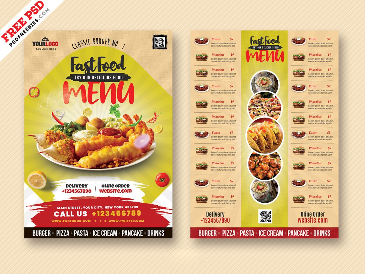 Restaurants Food Menu Card Design Template – Download PSD