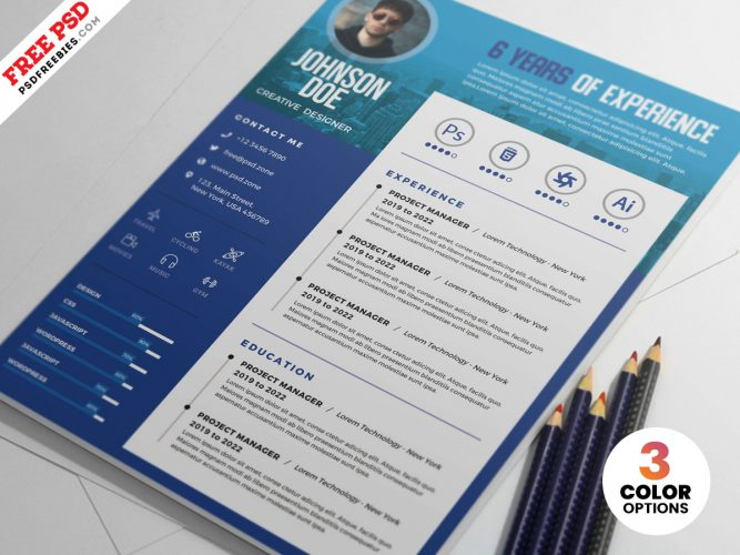 A4 Designer Resume CV Template