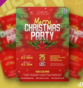Free Christmas Party Flyer Template Design