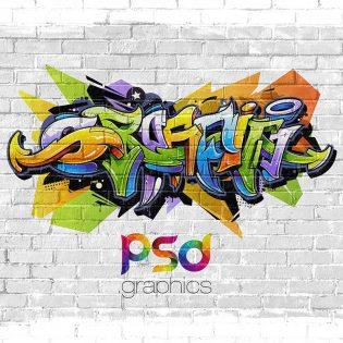 Wall Graffiti Mockup Template