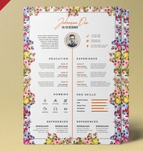 Beautiful Resume Template Design PSD