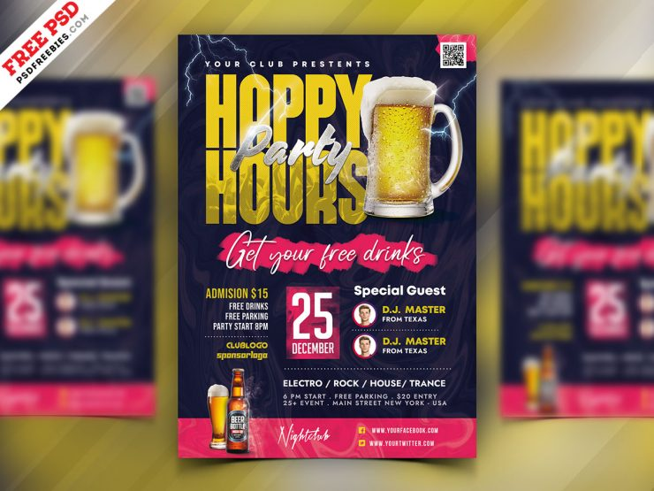 Happy Hour Party Flyer Design Template