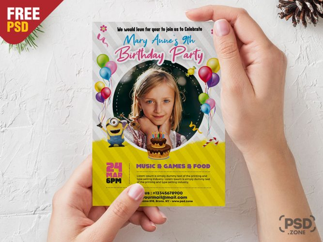 Kids Birthday Invitation Card Design Template