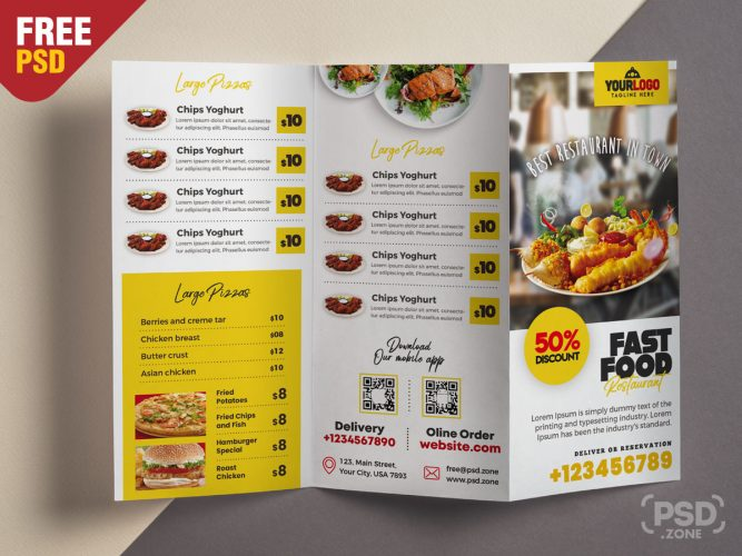 Tri-Fold Restaurant Food Menu Template Design