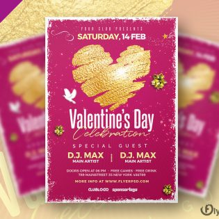 Valentine's Day Party Flyer Template Design