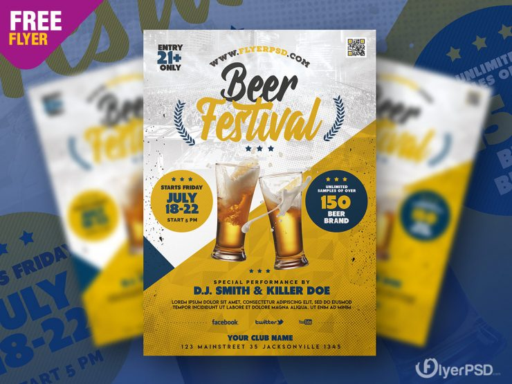 Beer Festival Flyer Template Design