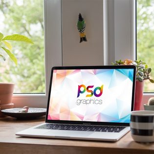 Indoor Macbook Pro Mockup PSD