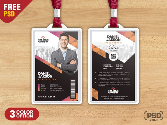 Office Employee Photo ID Card Design Template