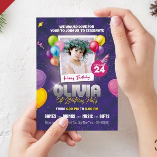 5×7 Birthday Party Invitation Card Design Template