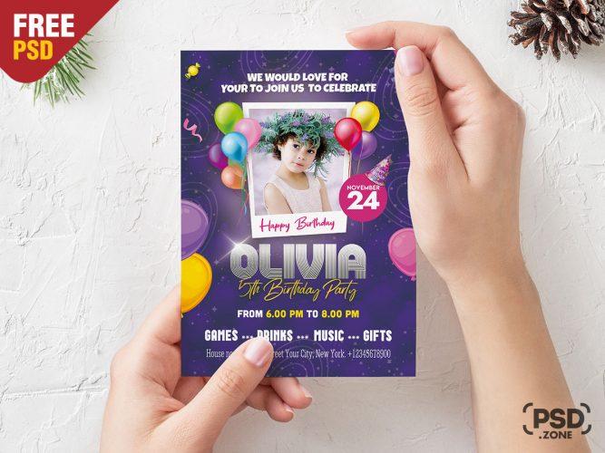 5×7 Birthday Party Invitation Card Design Template