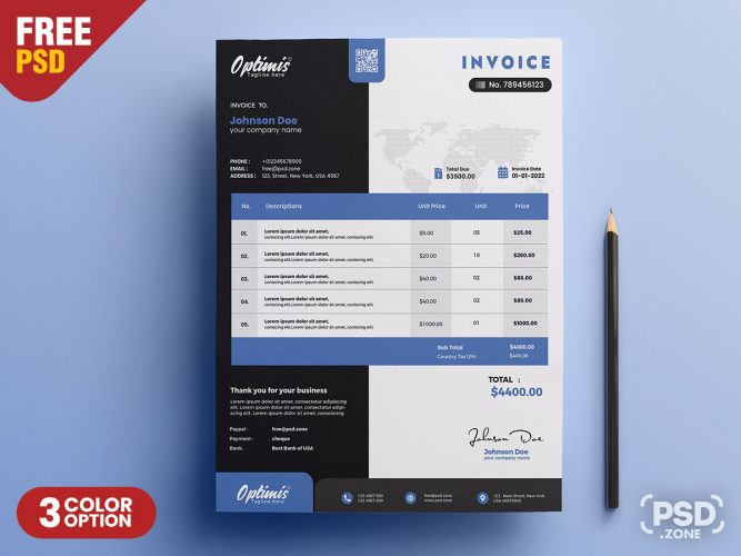 A4 Corporate Invoice Design Template