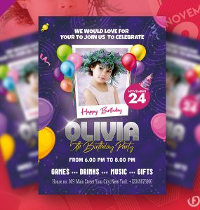 Birthday Party Invitation Flyer Design Template