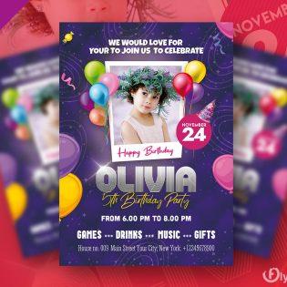 Birthday Party Invitation Flyer Design Template