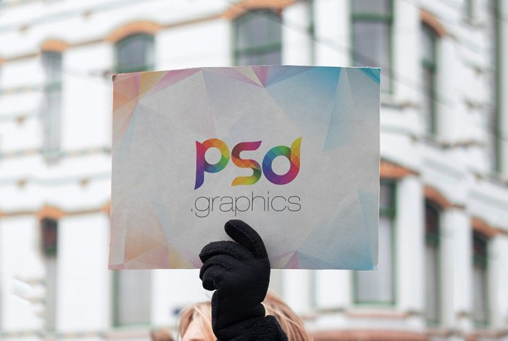 Female Holding Placard Mockup Template