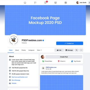 New Facebook 2020 Page Mockup Template