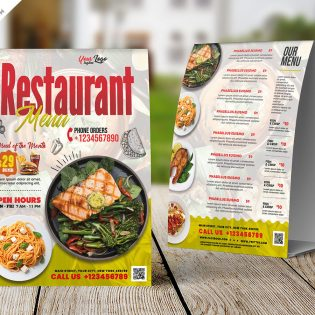 Restaurant Food Menu Tent Card Design Template