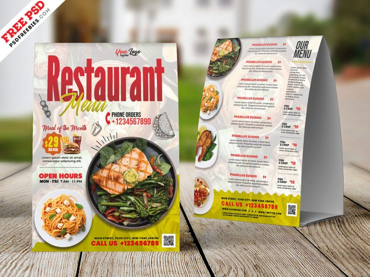 Restaurant Food Menu Tent Card Design Template