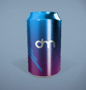 Soda Can with Water Droplets Mockup