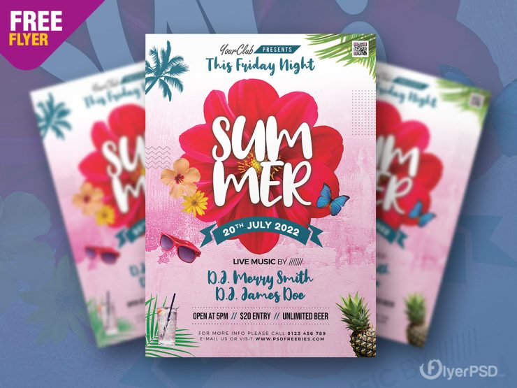 Summer Music Event Flyer Template Design
