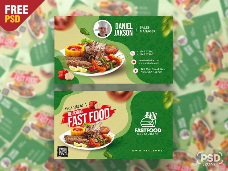 Fast Food Restaurant Business Card Design Template