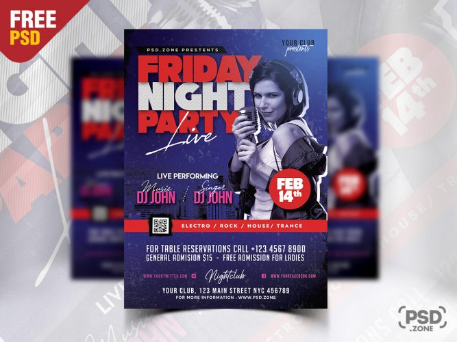 Friday Night Club Party Flyer Template