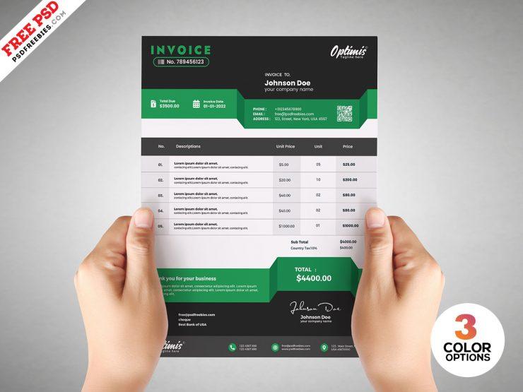 Payment Invoice Template Design PSD