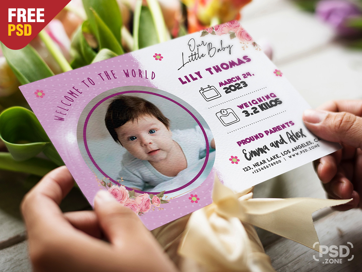 Baby Birth Announcement Card Design Template - Download PSD