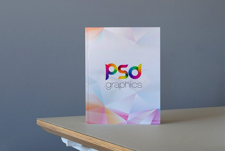 Hardcover Book on Table Mockup PSD