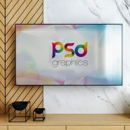 Smart TV on Wall Mockup Template
