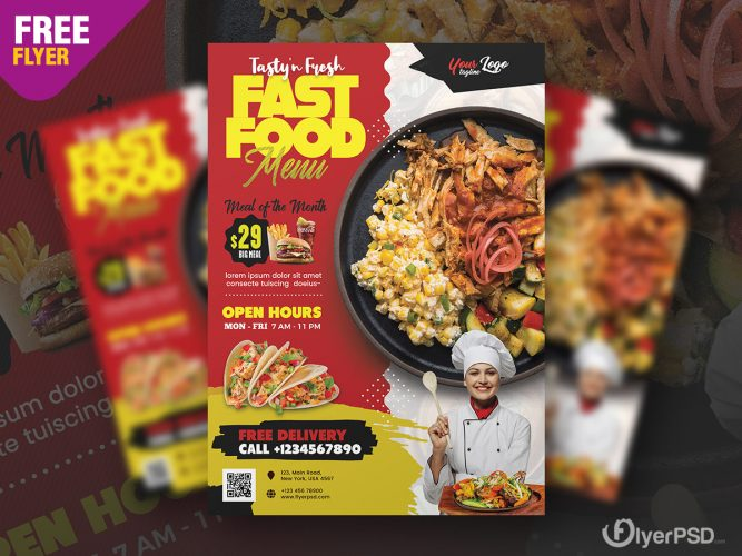Fast Food Restaurant Flyer Design Template