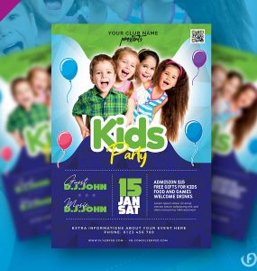 Free Kids Party Flyer PSD Template