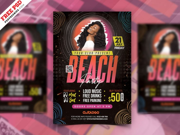 Colorful Beach Party Flyer Template