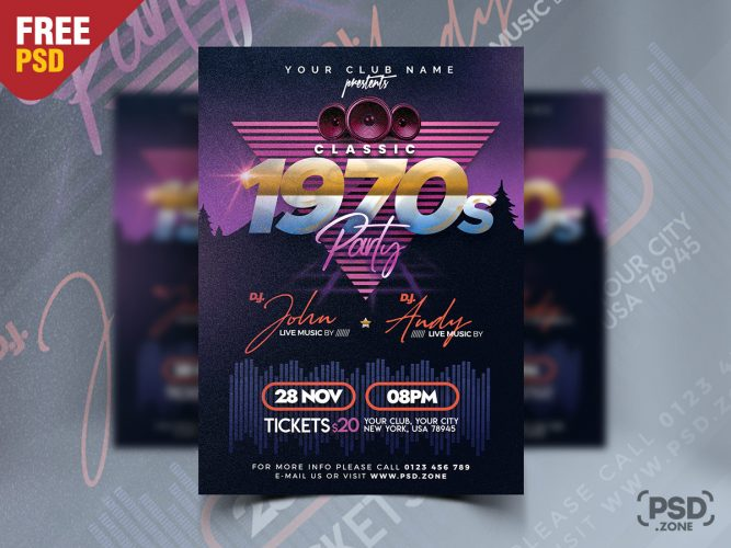Retro Style Party Flyer Design Template