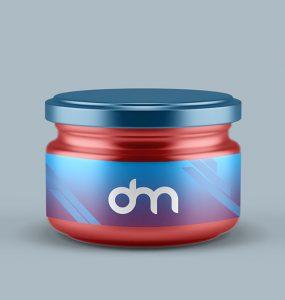 Small Glass Jar Mockup PSD Template