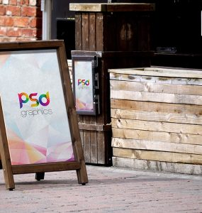 Outdoor Sidewalk Sandwich Board Mockup