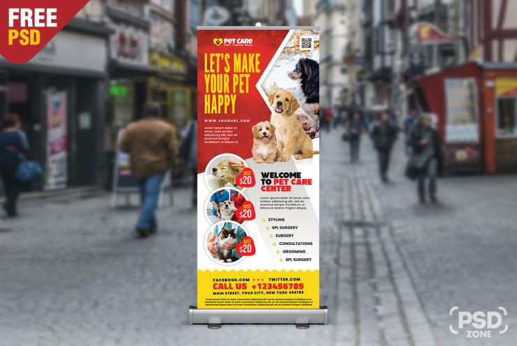 Veterinarian Clinic Signage Roll Up Banner Template