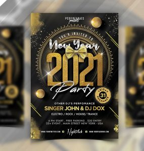 Happy New Year 2021 Flyer Template PSD