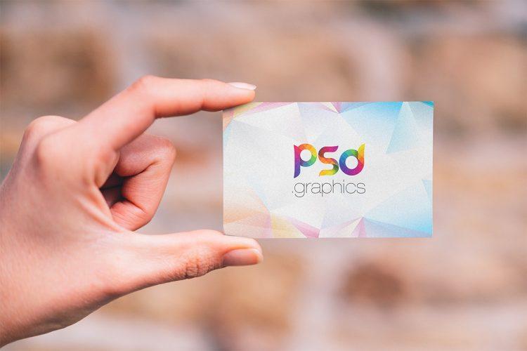 Holding Business Card Design Mockup