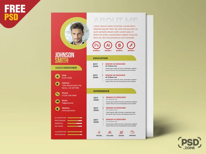 A4 Designer Resume Design Template PSD