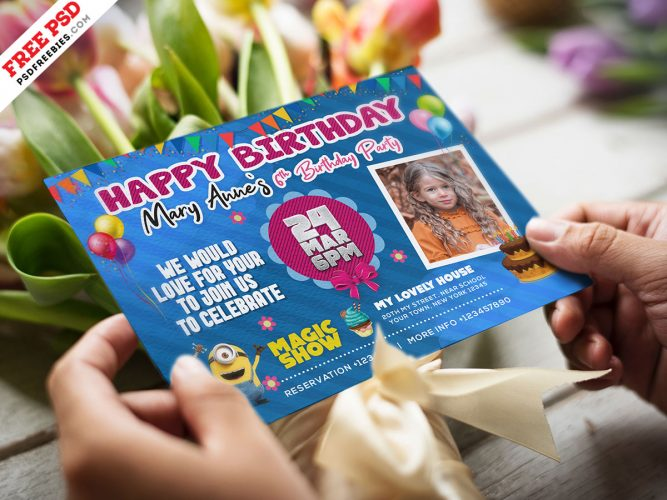 Colorful Birthday Invitation Card Design Template