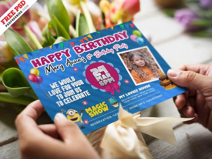 Colorful Birthday Invitation Card Design Template