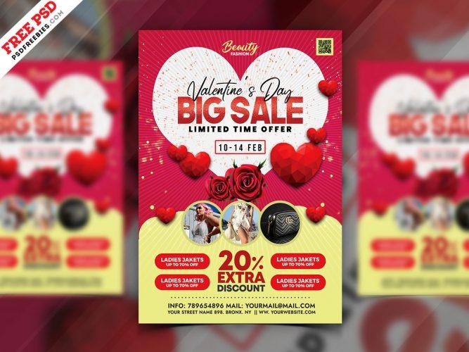 Valentine's Day Sale Flyer Template PSD
