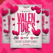 Valentine's Day Party Flyer Design Template