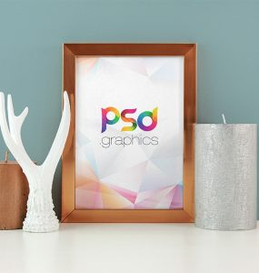 Wooden Photo Frame Mockup PSD
