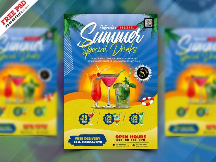 Summer Drinks Menu Design PSD