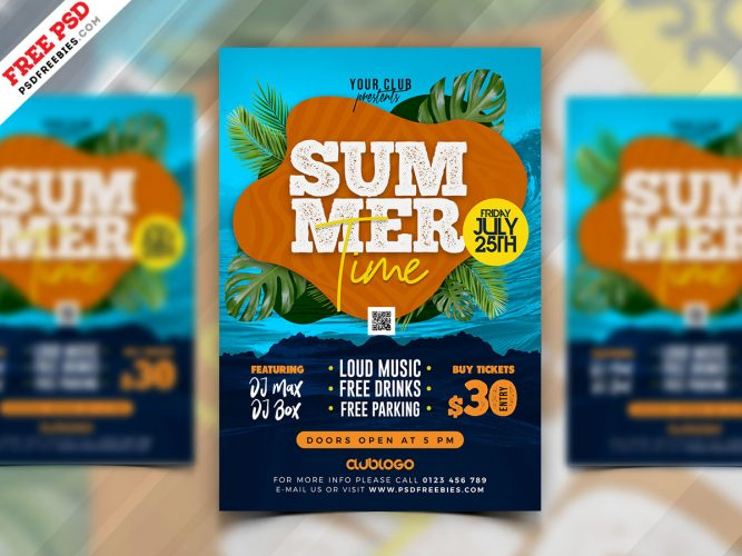 Summer Party Event Flyer Template Design